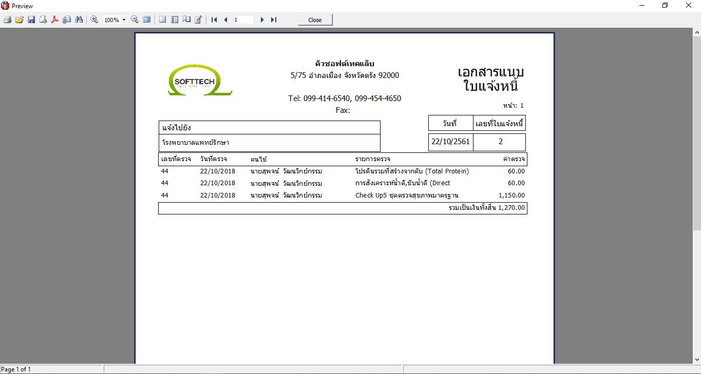 หน้าจอพรีวิวเอกสารแนบใบแจ้งหนี้-โปรแกรมแล็บ cliniclab